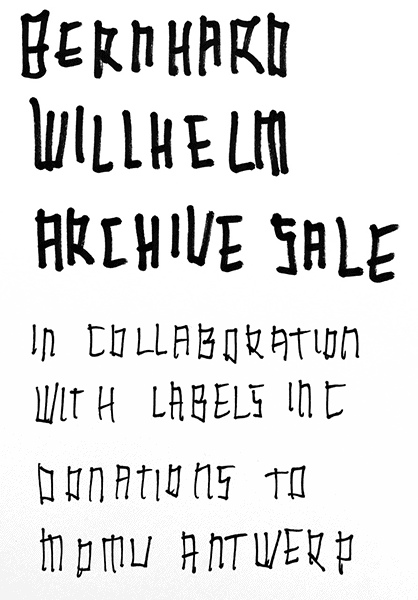 BERNHARD WILLHELM Online Archive Sale Collaboration with Labels Inc.